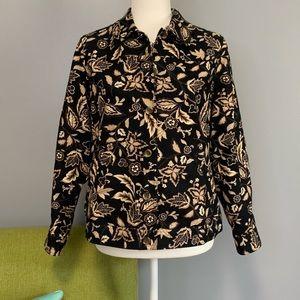 Appleseed's Floral Leaf Button Jacket Black Tan